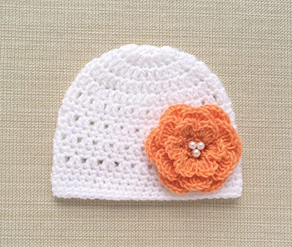 488772e0d91 Image Unavailable. Image not available for. Color  White Crochet Baby Girl  Hats ...