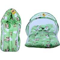 FARETO New Born Baby Bear Print Mattress with Mosquito Net & Sleeping Bag Combo (0-6 Months)