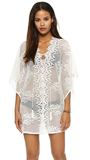4470b4ecdc Image Unavailable. Image not available for. Color  MG Collection Sheer White  Crochet Swimsuit Coverup Fashion V Neck Beach Dress