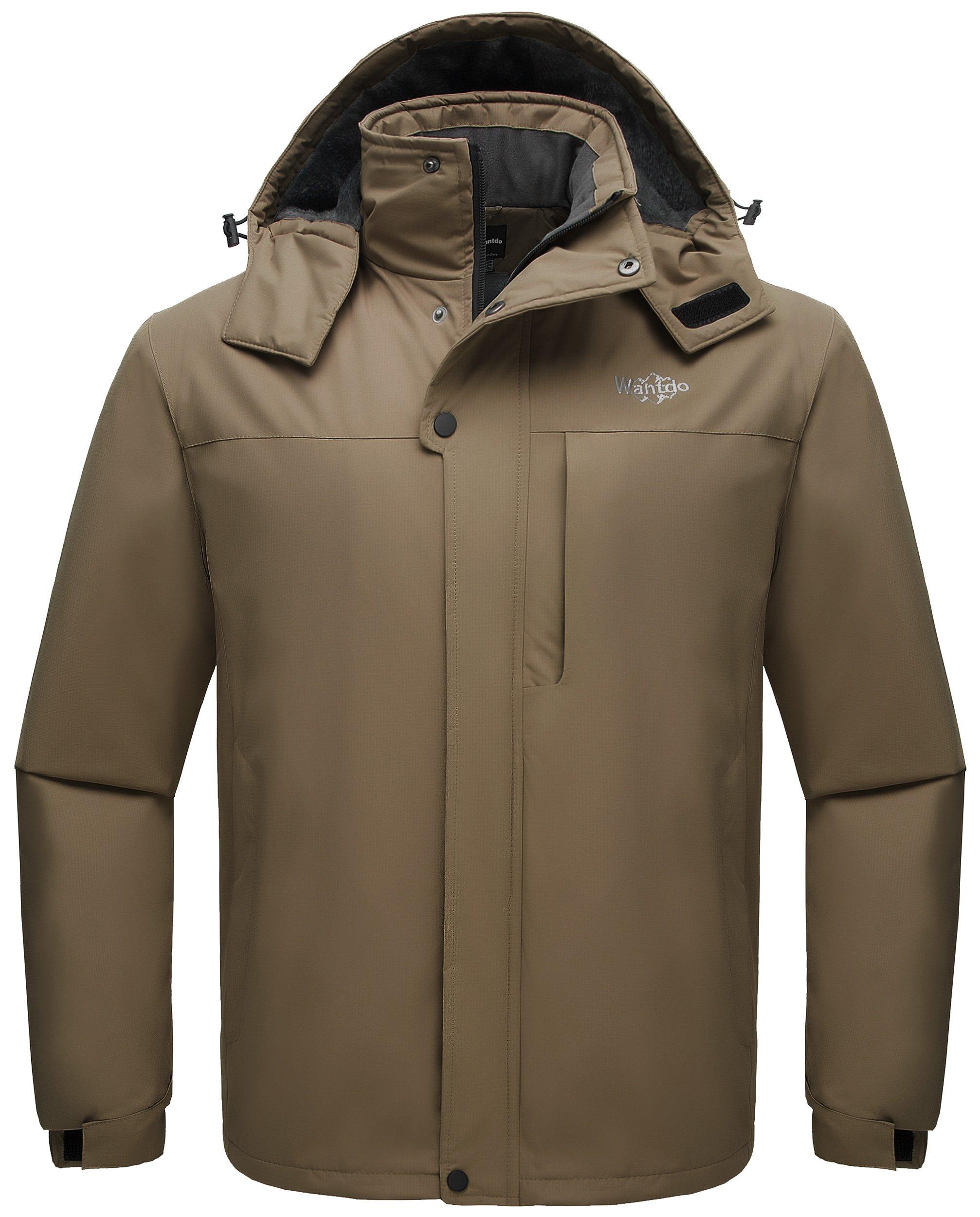 Wantdo Men's Detachable Hood Waterproof Rain Jacket Windbreak Fleece Ski Jacket Coffee US Medium