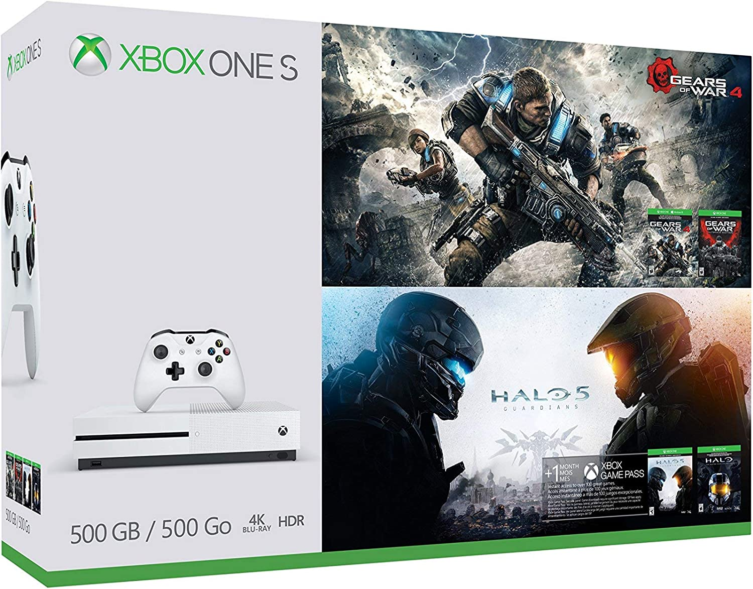 Xbox One S 500GB Console - Gears of War & Halo Special Edition Bundle (Renewed)