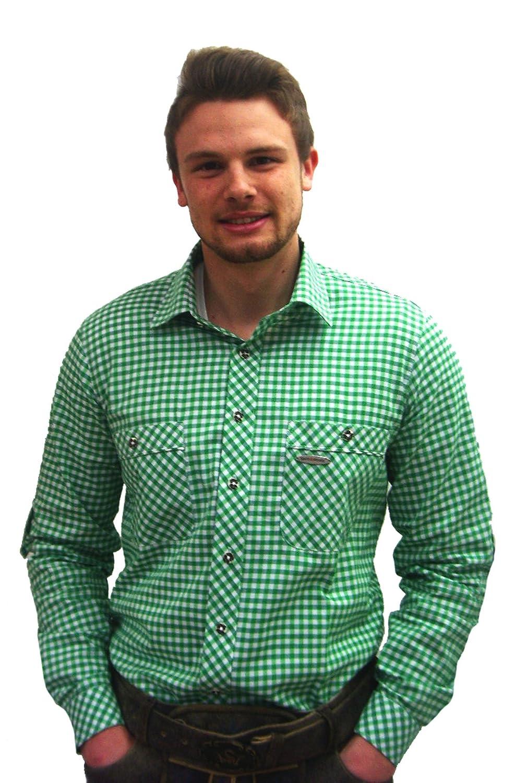 Klassisches Herren Trachtenhemd grün weiß kariert Peine Herrenhemd Slim Fit Langarm grün