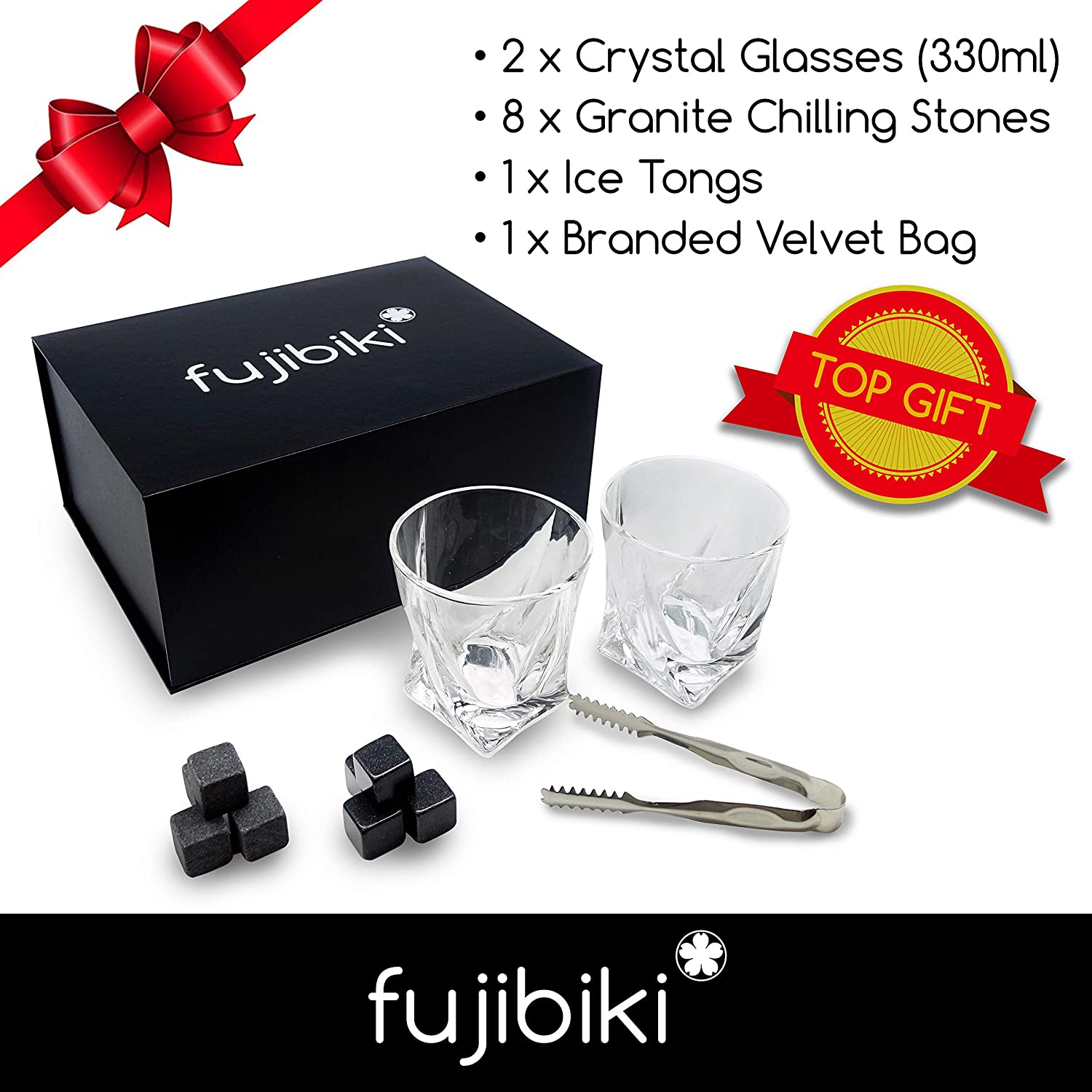 Premium Whiskey Glasses and Stones Gift Set 8 Granite Chilling Stones, 2 Crystal Glasses 330ml 10oz , Velvet Bag, Ice Tongs, Packed in a Gift Box by Fujibiki Whisky, Bourbon, Scotch and Liquors.