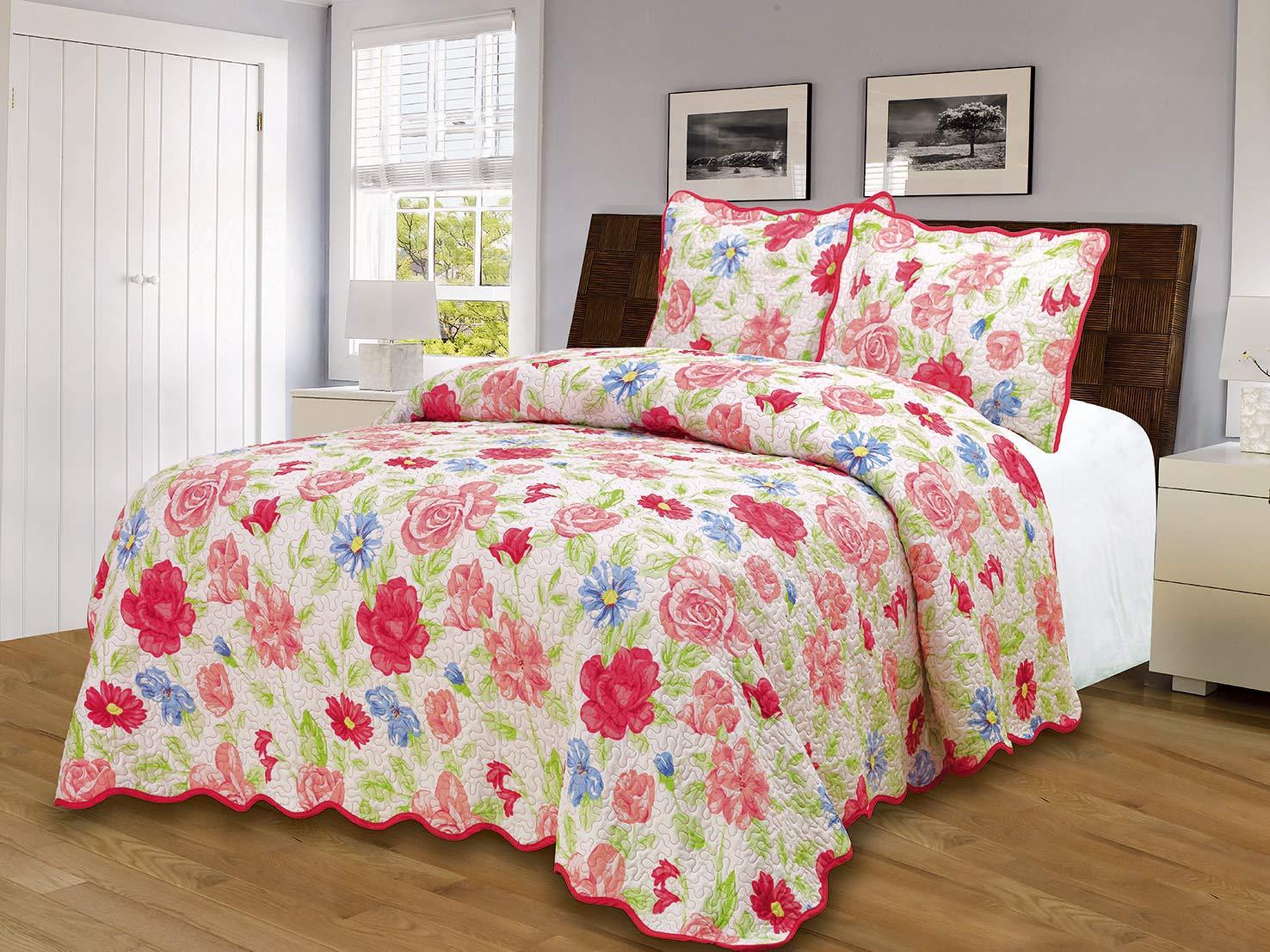 Rose Floral King EM90RO Glory Home Design Reversible Quilt Set