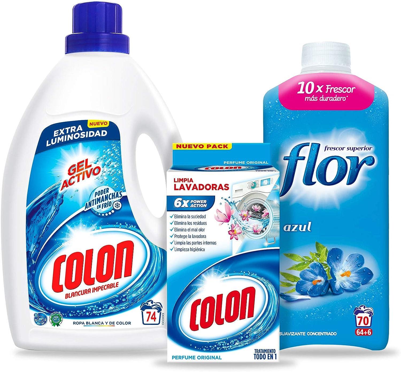 Colon Detergente Gel Activo 74 dosis + Flor Suavizante Concentrado ...