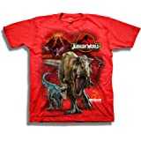 Jurassic World Boys 2 T-rex & Raptor Short Sleeve T-Shirt Short Sleeve T-Shirt - red