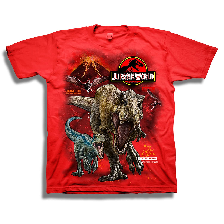 Jurassic World Boys 2 T-rex /& Raptor Short Sleeve T-Shirt