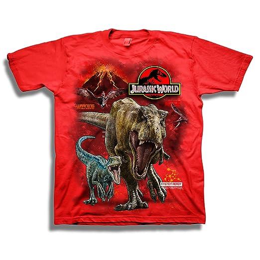 2152ba77 Amazon.com: Jurassic World Boys 2 T-rex & Raptor Short Sleeve T-Shirt:  Clothing