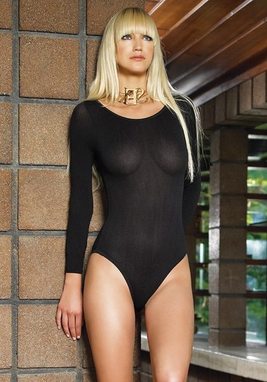 Leg Avenue Womens 140 Denier Opaque Long Sleeve Bodysuit 8578