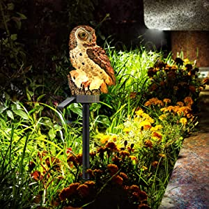 Wrpacttg Owl Solar Garden Lights, Solar Powered Stake Lawn Lights Outdoor, Waterproof LED Landscape Lamp Lighting for Patio Pathway Yard Garden Walkway (Brown)