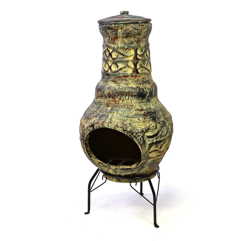 Nexos Terrassenofen Gartenkamin Terracotta 73 cm Gartenofen Stahlgestell Feueröffnung 20, 5 x 13 cm robust 15 kg Abdeckung Gartenfeuer Terrassenfeuer Nexos Trading