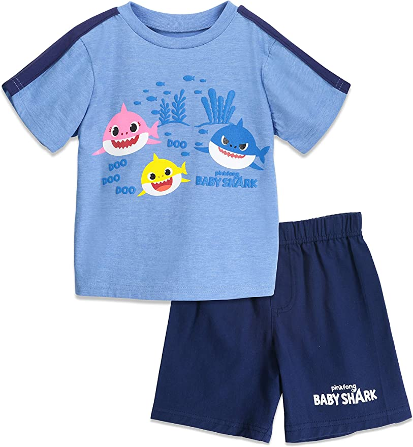Baby Shark Boys Short Sleeve T-Shirt /& Shorts with Singing Chip