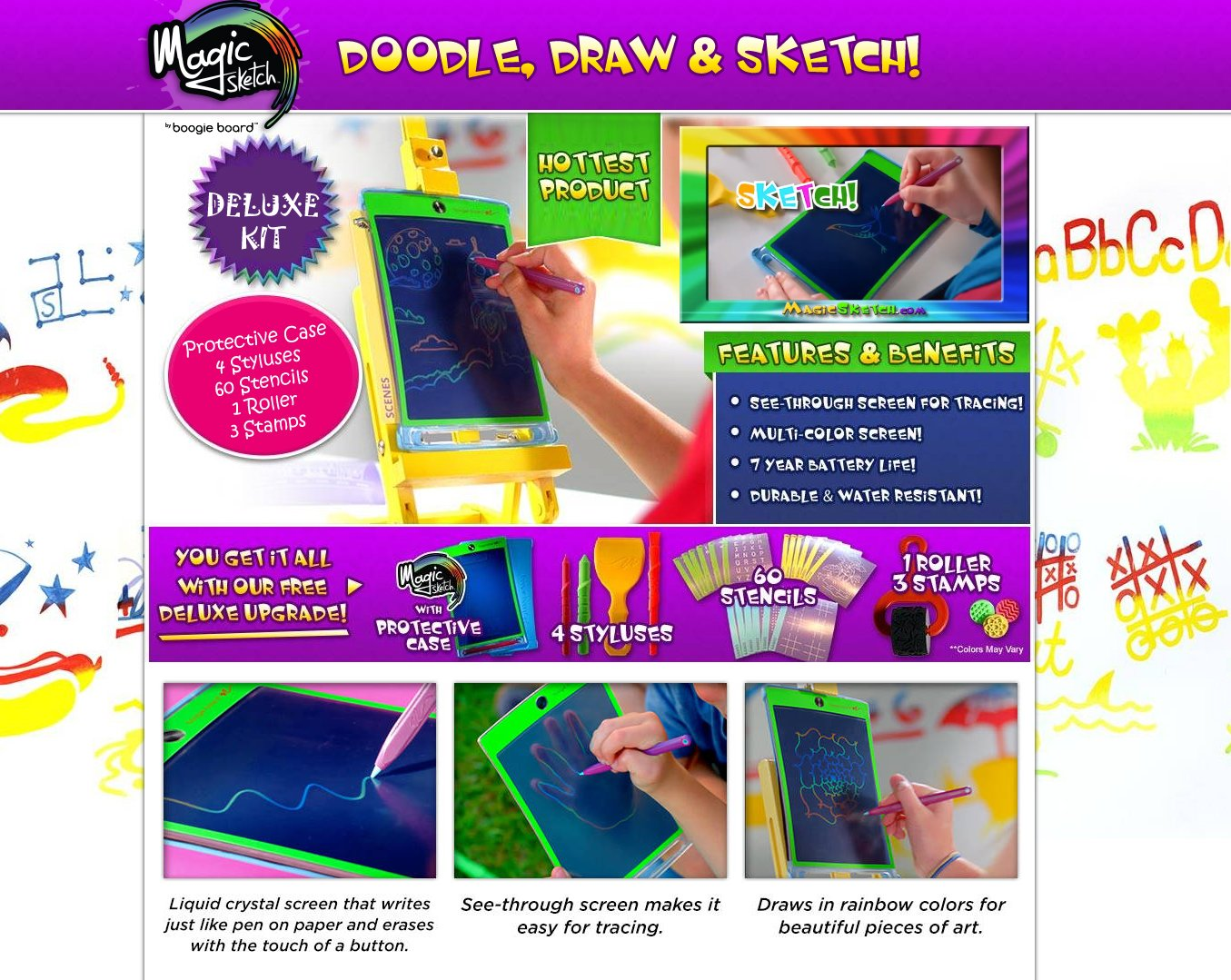 Office House Learning Tablet LCD Writing Board Car Rides 60 Stencils Doodle Magic Sketch Deluxe KIT 1 Stamp Roller /& 3 Stamps Drawing School Includes Protective Cover Kids 4 Styluses
