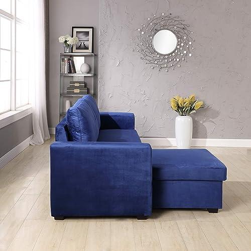Velvet Storage Reversible Sectional Sofa bed Sleeper Velvet Chaise Storage Reversible Sofa Bed Sleeper Sectional