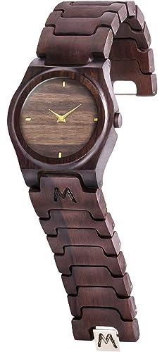 MATOA Gili - Reloj de madera hecho a mano | Hecho a mano con madera tropical recuperada | Caja ...