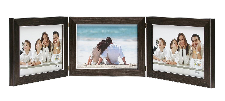 Deknudt Frames S41VK3-H3H-10.0X15.0 Bilderrahmen, aufklappbar, fü r 3 Fotos, Querformat, Braun 18,2 x 13,9 x 1,7 cm