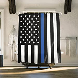 American Shower Curtain Set Law Enforcement Thin Blue Line USA Flag Print Bath Curtain Waterproof Fabric Bathroom Decor with Hooks, 60x72 inch