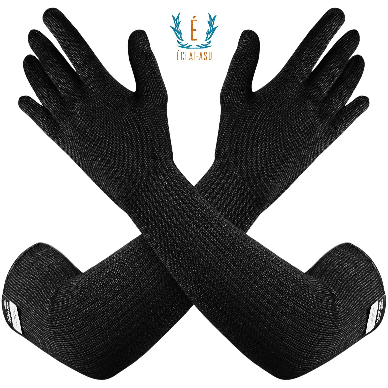 100% Kevlar Glove Arm Sleeves by Dupont- Cut, Scratch & Heat Resistant Arm Sleeve, Arm Safety Sleeves- Long Arm Protectors- Flexible & Washable- Black, 1 Pair by ECLAT-ASU