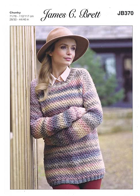 75602bbf02bc James C Brett JB370 Knitting Pattern Ladies Sweater in Marble Chunky ...