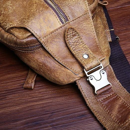 JOYIR para hombre piel auténtica bolsa de pecho hombro mensaje bolsa crossbody Sling para correr deporte senderismo, marrón: Amazon.es: Deportes y aire ...