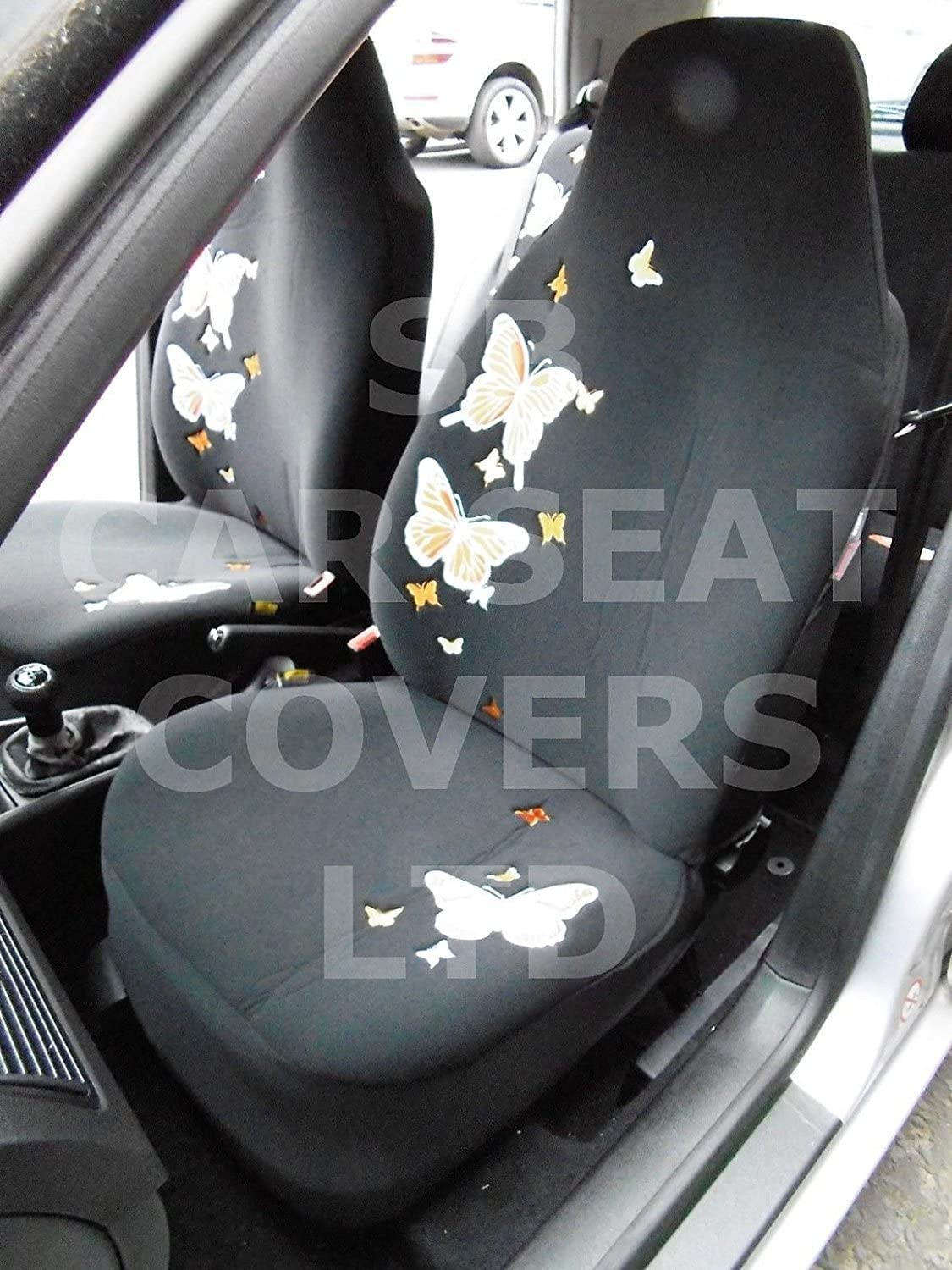 ROSSINI HIGH BACK SEAT COVERS r SUITABLE FOR TOYOTA AYGO CAR ORANGE BUTTERFLY