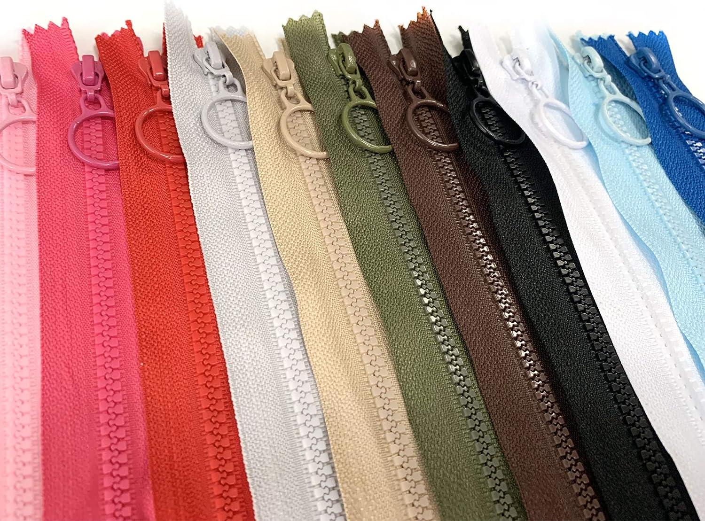 24 piezas DOITEM 12 Piezas 70cm 28 Pulgadas Cremalleras de Resina de Pl/ástico Multicolor con 12 piezas Cremallera para Coser y Manualidades 6 Colores