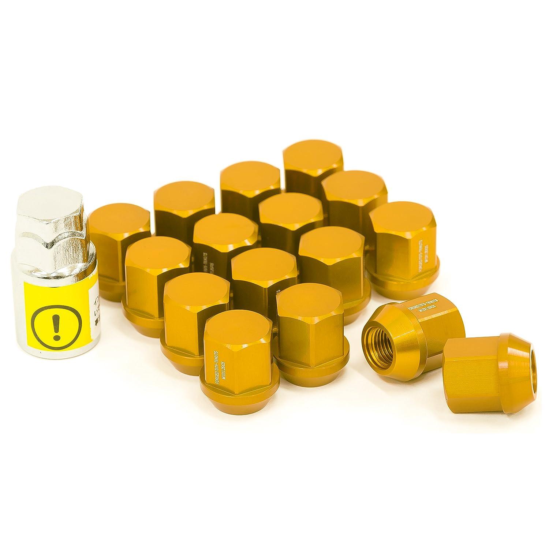 LYZER ジュラルミンナット 袋型 25mm 16本 【M12*P1.25 】ゴールド DN-0004 B074XL1YPL