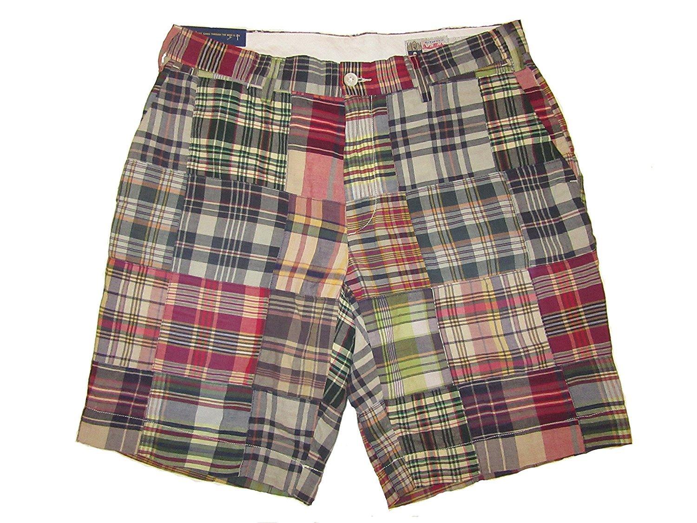 Ralph Lauren Polo Mens Classic Fit 9'' Madras Patchwork Shorts Blue/Red Plaid (31)