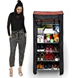 Happer Premium 6-Tiers Shoe Rack/Multipurpose Storage Rack with Dustproof Cover and Rotating Wheels, Dolphin (Check Print, Multicolor)