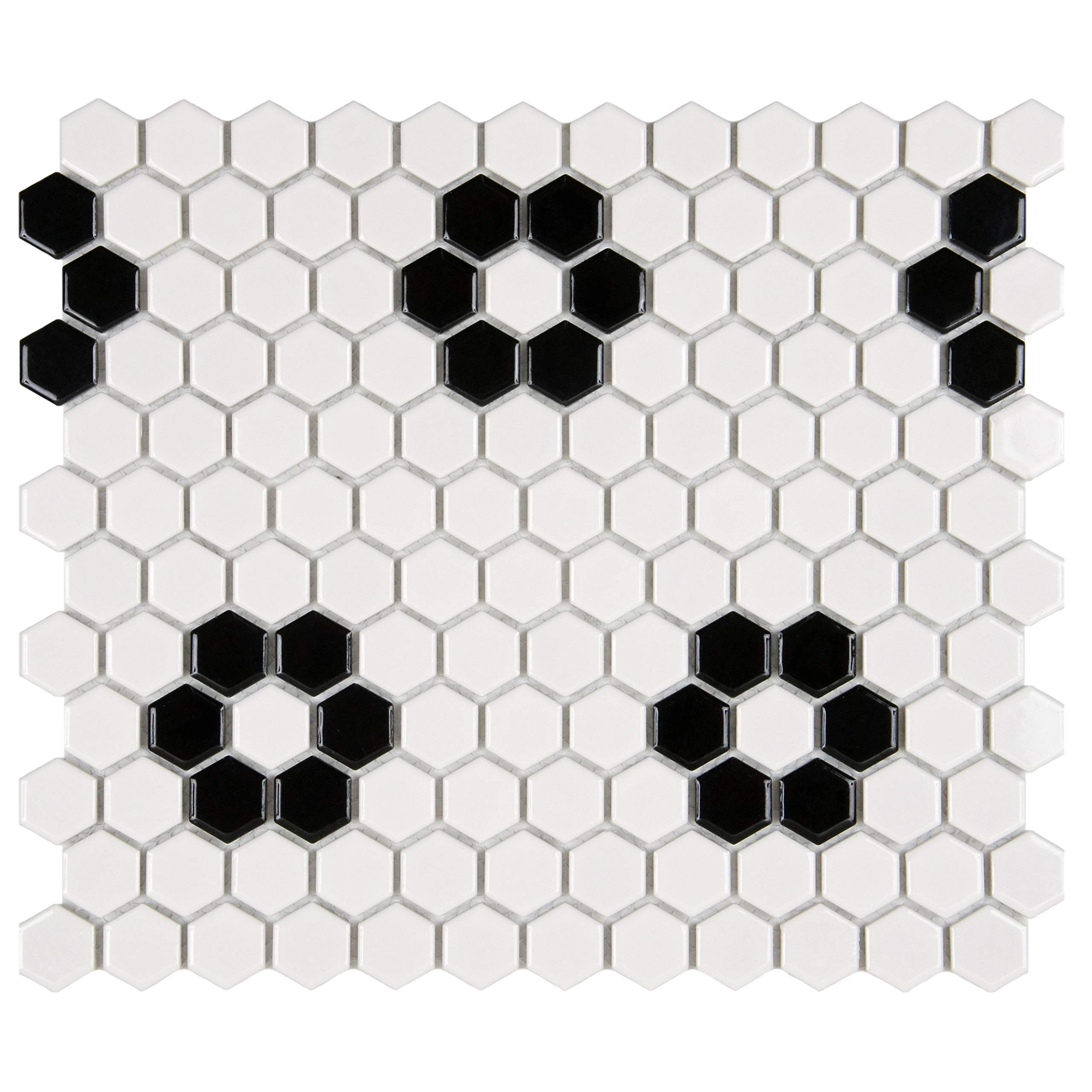 SomerTile FXLM1HGH Retro Hex Heavy Flower Porcelain Floor and Wall Tile, 10.25'' x 11.75'', Glossy White/Black