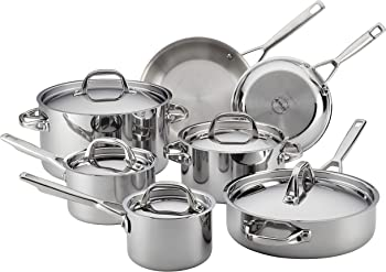 Anolon 30822 Tri-ply Clad Stainless Steel Cookware Pots and Pans Set