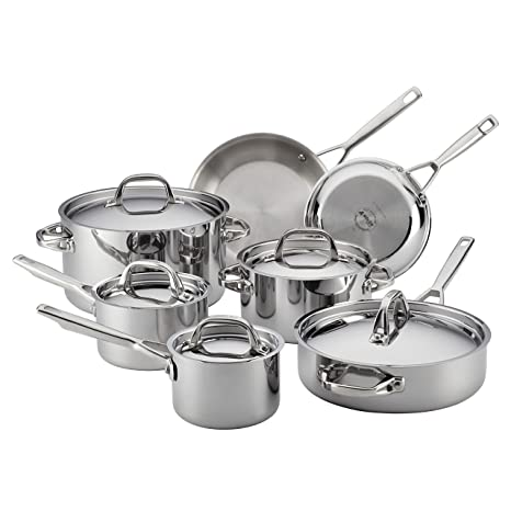 Anolon 30822 Triply Clad Stainless Steel Cookware Pots and Pans Set, 12  Piece