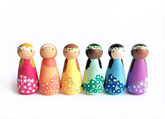 Wooden Dollhouse Figures - Set of 6 Spring Flowers Pastel Peg Dolls - Wooden Toys for Girls , Multicultural Kids Toy