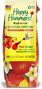 EZNectar Fast Feeder The Only Disposable Ready-to-Use, Hummingbird Feeder w/no Preservatives or Dyes, Exactly Like Flower Nectar. Never Clean Another Feeder - Patented. (1 Piece) 11 FL OZ Total