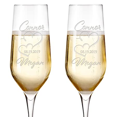 Set of 2 Wedding Champagne Glasses for Couples Engraved Glass Bride and Groom Gifts Wedding Favors House Warming Presents Wedding Gifts for The Couple