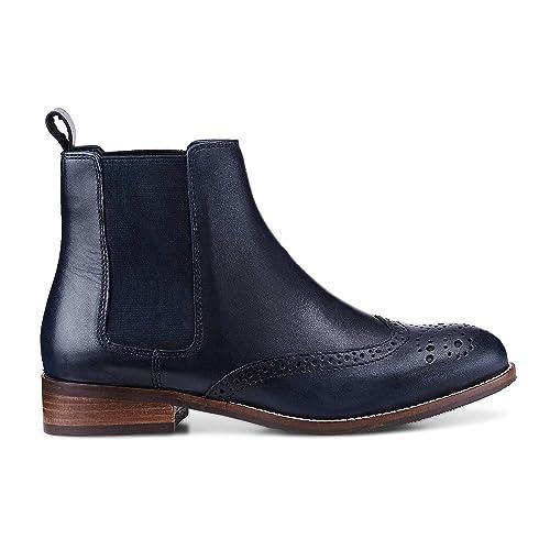 Niedriger Verkaufspreis neueste Art von hoch gelobt Cox Damen Chelsea-Boots aus Leder, Stiefeletten in Blau mit stylischer  Lyra-Lochung