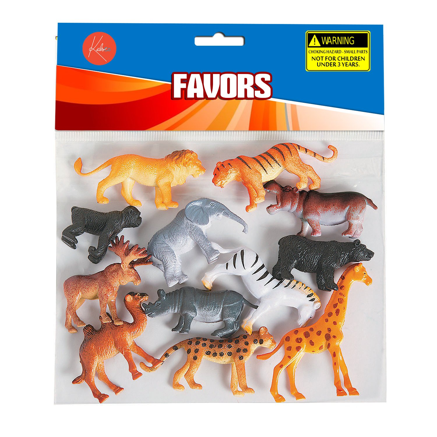 Plastic Safari Animals - Pack Of 12 - 2 Inches - Wild Jungle Animal Figures Science Learning Resource - Party Pack - For Kids Great Party Favors, Bag Stuffers, Fun, Toy, Gift, Prize - By Kidsco by Kidsco (Image #2)