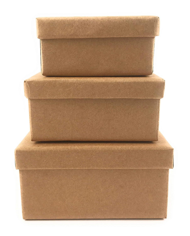 Manualidades Caja de cartón caja de regalo de cartón caja con tapa Plaza 6 unidades en tres tamaños: Amazon.es: Oficina y papelería