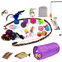 Cat Toys Kitten Toys 29pcs Assorted Cat Tunnel Catnip Fish Feather Teaser Wand Fish Fluffy Mouse Mice Balls and Bells…