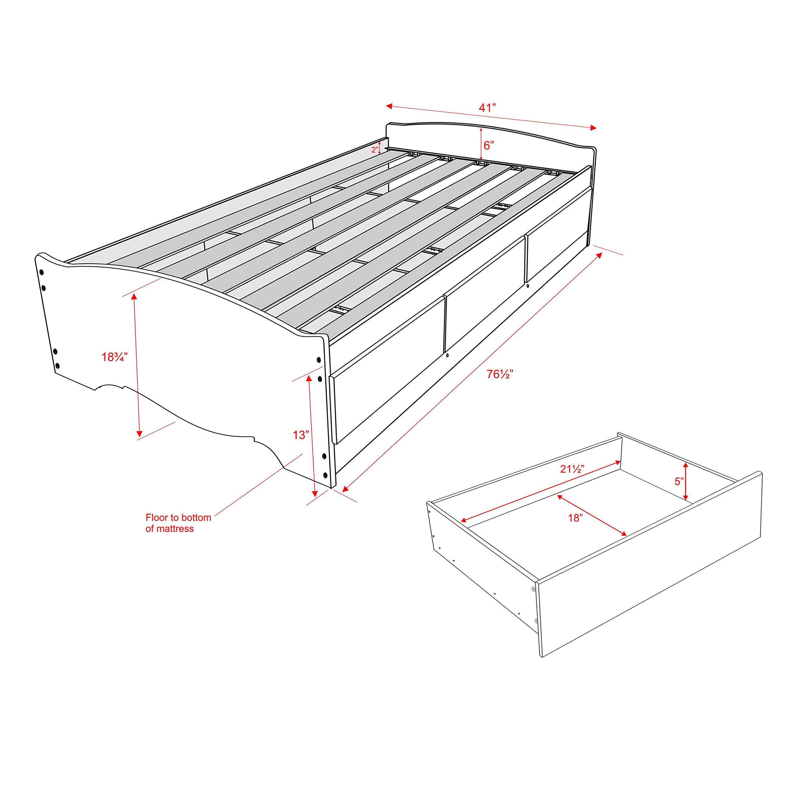 Espresso Twin Mate's Platform Storage Bed with 3 Drawers by Prepac (Image #2)