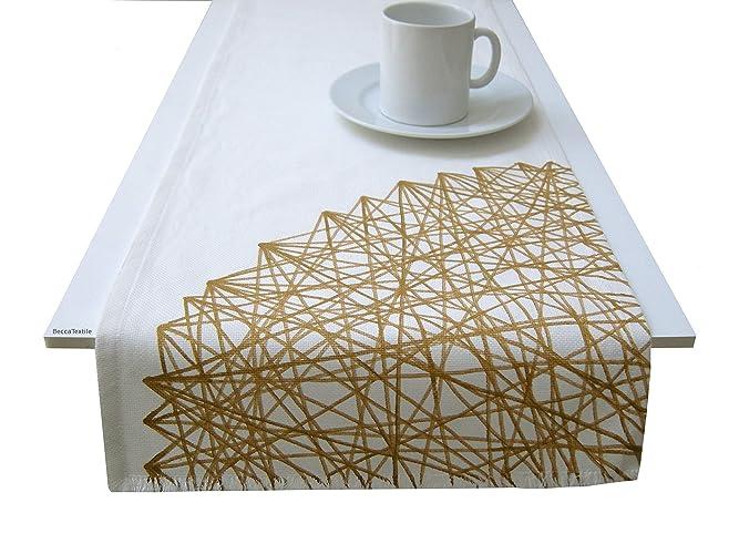 Camino de mesa geométrico color oro y gris,Manteles de diseño ...
