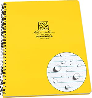 product image for Rite In The Rain Weatherproof Side Spiral Notebook, Yellow Cover, Universal Page Pattern (No. 373-MX), 11 x 8.75 x 0.5