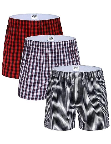 Hawiton Pantalones de Pijama Hombre Algodón Rayas Shorts Ropa de Dormir Cortos de Playa