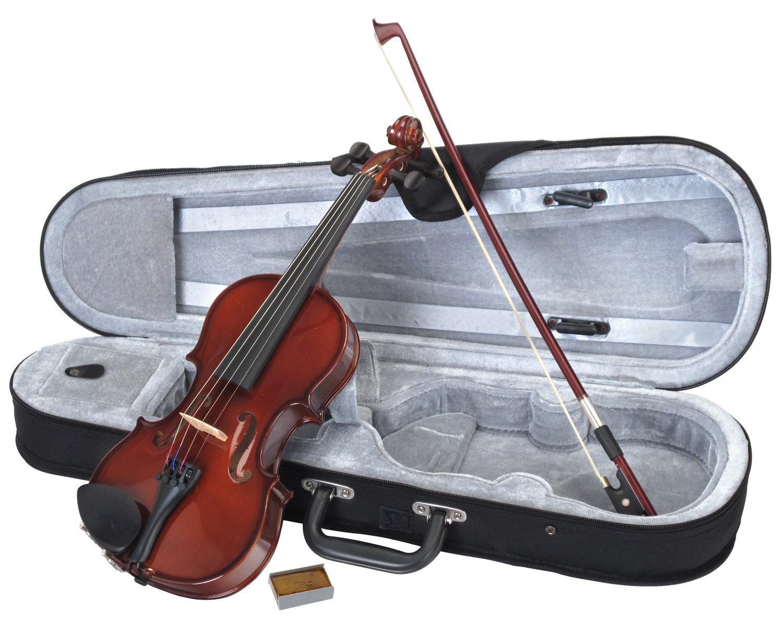 Classic Cantabile Student Violinenset 1/2 (Einsteiger/Schülerinstrument, Geige, Boden & Zargen aus Ahorn, Massive Fichtenholz Decke, Ahorn Steg, Inkl. Etui, Bogen und Kolofonium) 00027880