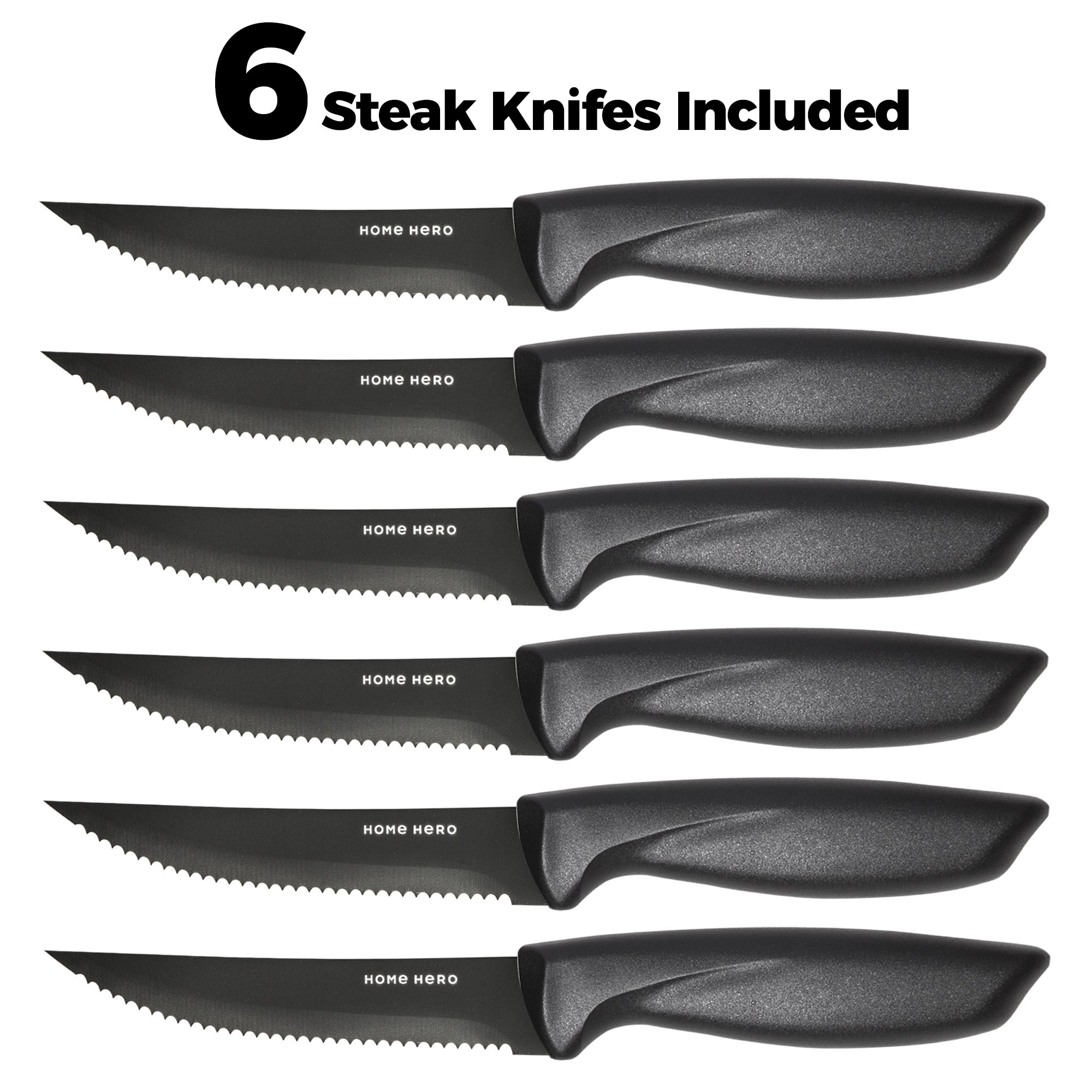 Stainless Steel Knife Set with Block - 13 Kitchen Knives Set Chef Knife Set with Knife Sharpener, 6 Steak Knives, Bonus Peeler Scissors Cheese Pizza Knife & Acrylic Stand - Best Cutlery Set Gift by Home Hero (Image #3)