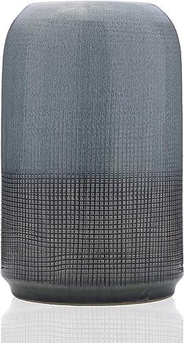 Scott Living Oasis Blue Layered Ceramic Quilt Vase, 8 inch