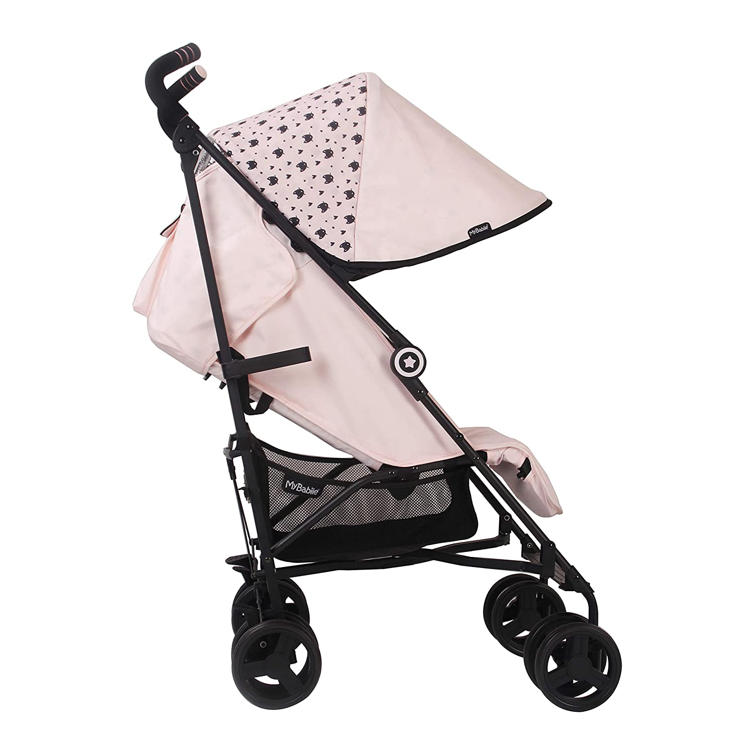 My Babiie US02 Black Cats Baby Stroller Lightweight Baby Stroller with Carry Handle Silver Frame and Black Cats Lightweight Travel Stroller Suitable from Birth up to 33 lbs