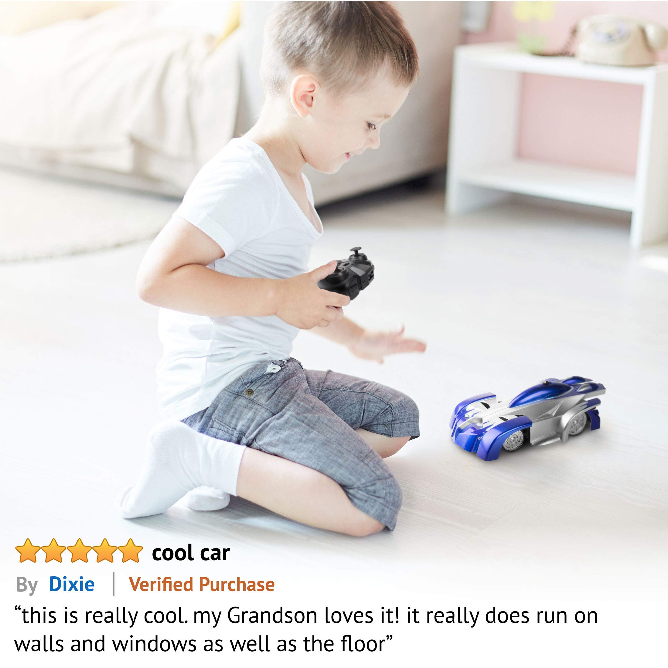 Force1 Gravity Defying RC Car - Remote Control Car for Floor or Wall Rechargeable Fast RC Car (Blue) by Force1 (Image #6)