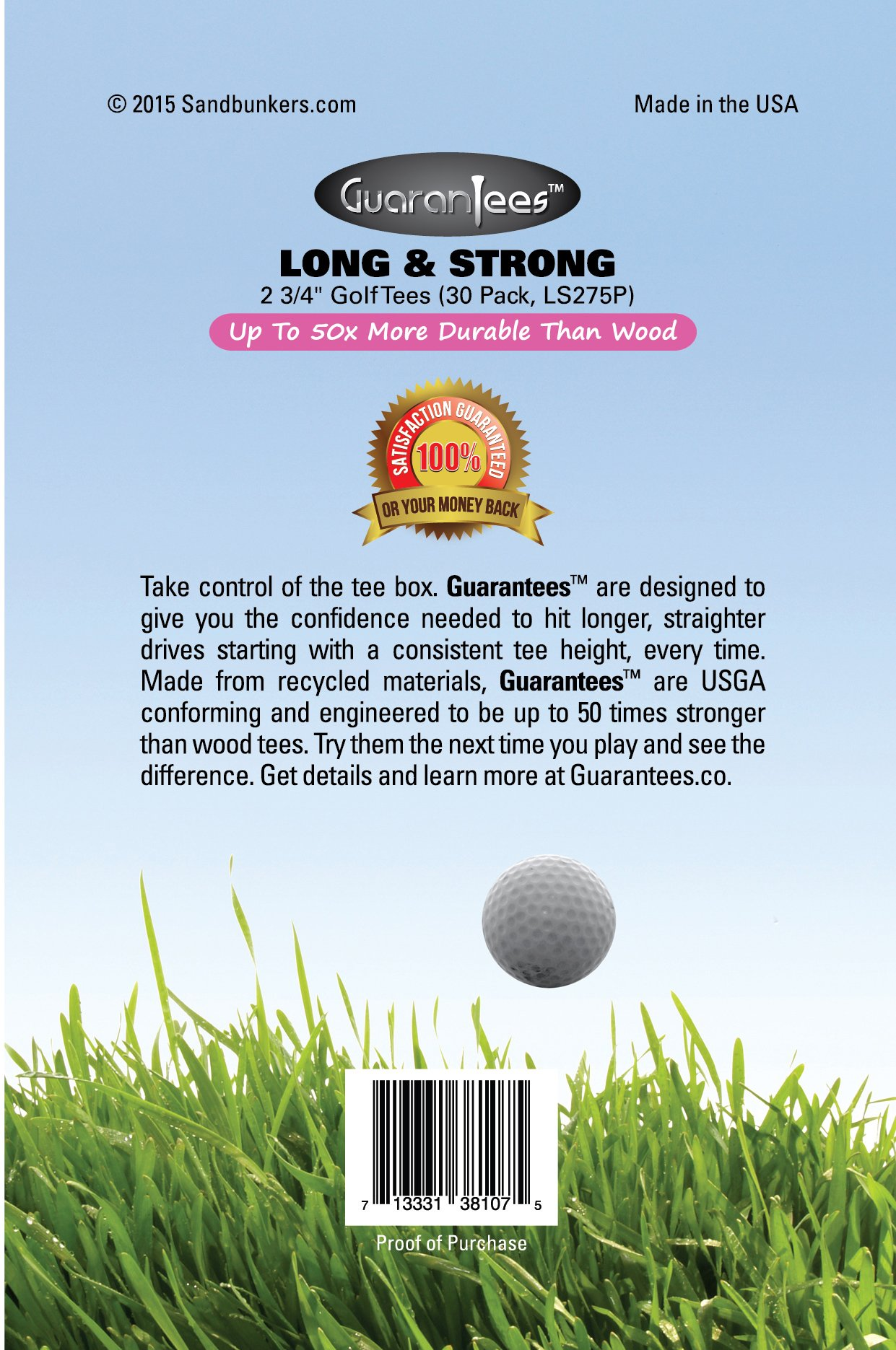 Pink Golf Tees, 2 3/4'' Inch Flexible Plastic, Low Friction, 30 Pack, Made in USA, GuaranTees by Sandbunkers (Image #2)