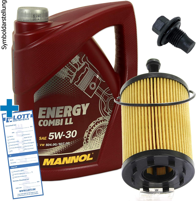 Ölwechsel Set Inspektion 5 Liter Mannol Energy Combi Ll 5w 30 Öl Motoröl Ölfilter Öl Ablassschraube Verschlussschraube Auto